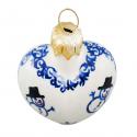 Polish Pottery CLASSIC SNOWMAN Stoneware Heart Bauble | CLASSIC