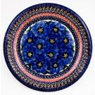 Polish Pottery BLUE PANSY 9.75 Luncheon-Dinner Stoneware Plate   UNIKAT