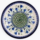 POLISH POTTERY STONEWARE BLUE TULIP  |LUNCH PLATE