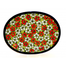 """Pottery Avenue Red Bacopa 11.5""""  Oval Stoneware Platter - Plate"""