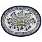 "Pottery Avenue Blue Tulip 11.5"" Oval Stoneware Platter - Plate"