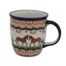 Polish Pottery 12-oz Stoneware Mug - 1105-DU218 Pony Love