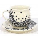Polish Pottery Espresso-Demitasses Stoneware Cup & Saucer  - 1121-1117-1185 Diamond