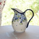 POLISH POTTERY STONEWARE TRUE BLUES PITCHER| ARTISAN