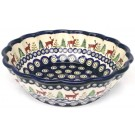 Polish Pottery CARIBOU LODGE Scalloped Stoneware Serving Bowl | CLASSIC