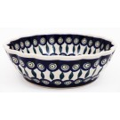 Polish Pottery EYE OF THE PEACOCK Scalloped Serving Bowl | CLASSIC