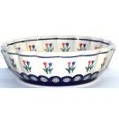 Polish Pottery PEACOCK TULIP Scalloped Stoneware Serving Bowl | CLASSIC