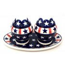 Pottery Avenue Americana 3pc Stoneware Salt and Pepper with Tray
