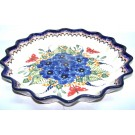 "Pottery Avenue Strawberry 13"" Butterfly Stoneware Quiche Dish - Top View"