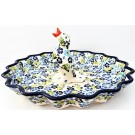 "Pottery Avenue TRUE BLUES 13"" Stoneware Pie-Quiche Stoneware Dish with Pie Bird"