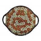 "Pottery Avenue Red Bacopa Handled 12.6"" Round Stoneware Serving Tray"