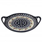 "Pottery Avenue Caribou Lodge Handled 12.6"" Round Stoneware Serving Tray"