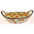 "Pottery Avenue 13"" RED BACOPA Baker Bowl With Handle 