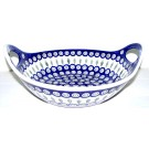 "Polish Pottery EYE OF THE PEACOCK 13"" Stoneware Handled Baker-Serving Bowl 