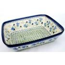 "Polish Pottery BLUE TULIP 10"" Rectangular Stoneware Baker   UNIKAT"