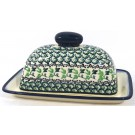 Pottery Avenue Covered Stoneware Butter Dish - 1377-1166A ivy