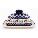 Pottery Avenue Caribou Lodge 2pc Covered Stoneware Butter Dish