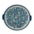 Polish Pottery DREAMLAND EX LG Round Stoneware Platter-Pizza Stone   UNIKAT