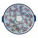 Polish Pottery POPPIES & DAISIES EX LG Round Stoneware Platter-Pizza Stone   UNIKAT