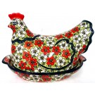 Pottery Avenue 1.5L Red Bacoba Hen Covered Casserole