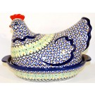 Polish Pottery 1.5L FANFAIR Hen baked casserole | CLASSIC