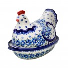 Polish Pottery TRUE BLUES 1.5L Hen Covered Stoneware Casserole | ARTISAN