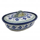 Pottery Avenue Floral Royal 1.5L Covered Stoneware Casserole