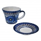 Pottery Avenue 8-oz Cup & Saucer 1802-1803-148AR Blue Pansy