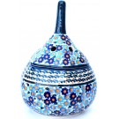 POLISH POTTERY GARLIC KEEPER | FORGET-ME-NOT | UNIKAT