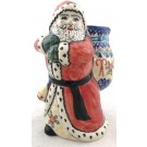 "Pottery Avenue Vena Candycane 8"" Stoneware Santa with Bag"