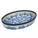 "Pottery Avenue 11"" Oval Stoneware Baker - 349-DU208 Blue Flower"