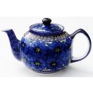 Pottery Avenue 34 oz BLUE PANSY Stoneware Teapot | UNIKAT
