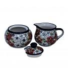 Pottery Avenue Stoneware Creamer & Sugar Set - 694-945-331AR Red Bacopa