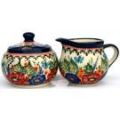 "Pottery Avenue 3.25"" Creamer & 4"" Sugar Set - Stoneware Pattern 694-945-149AR Butterfly Merry Making"