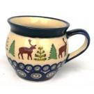 Polish Pottery CARIBOU LODGE Small Stoneware Bubble Mug | CLASSIC