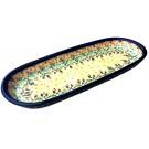 "Pottery Avenue Flowering Splendor 11"" Cracker-Olive Stoneware Tray"