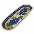 "Pottery Avenue Grapes 11"" Stoneware Cracker - Olive Tray"