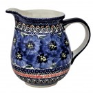 Pottery Avenue 28-ounce Stoneware Pitcher - 951-148AR Blue Pansy