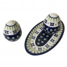 Pottery Avenue Drops of Joy 3pc Stoneware Salt and Pepper with Try - 962-921-296A