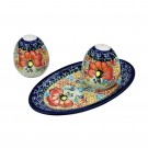 Pottery Avenue 3-Piece Stoneware Salt, Pepper and Tray - 962-961-296AR Champagne