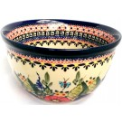 "Polish Pottery 6"" BUTTERFLY MERRYMAKING Mixing Bowl 