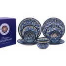 Pottery Avenue True Blues & Blue Flower 12 PC Designer Dinnerware