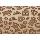 """Pottery Avenue Coffee 10"""" Embossing Rolling Pin  Pattern - LEP-Coffee"""