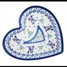Pottery Avenue Stoneware Heart Plate - V393-A231 SNOWMAN UNIKAT