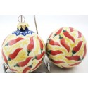 Polish Pottery Vena RED HOT Christmas Round Stoneware Ornament