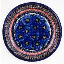 Polish Pottery BLUE PANSY 9.75 Luncheon-Dinner Stoneware Plate | UNIKAT