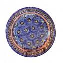 "Polish Pottery BLUE PANSY 11"" Stoneware Dinner Plate | UNIKAT"