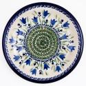 "Polish Pottery BLUE TULIP 9.75"" Luncheon-Dinner Stoneware Plate | UNIKAT"