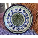 "Polish Pottery FLORAL ROYAL 11"" Stoneware Dinner Plate 