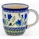 Polish Pottery BLUE TULIP 12-oz Stoneware Mug | UNIKAT